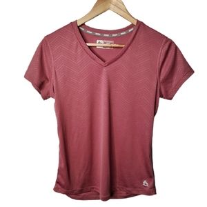 RBX Activewear V-Neck Short Sleeve Top Mauve M